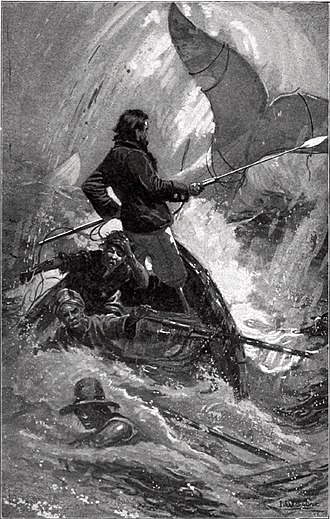 Nautical fiction - An illustration from a 1902 printing of Moby Dick, one of the renowned American sea novels