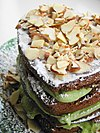 A layer cake prepared with avocado