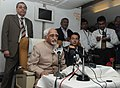 Mohd. Hamid Ansari interacting with the accompanying media onboard on his way to Lima, Peru on October 25, 2013. The Minister of State for Human Resource Development, Shri Jitin Prasada is also seen.jpg