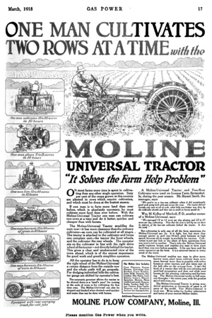Moline Plow Company - Image: Moline Universal Tractor advert 1918