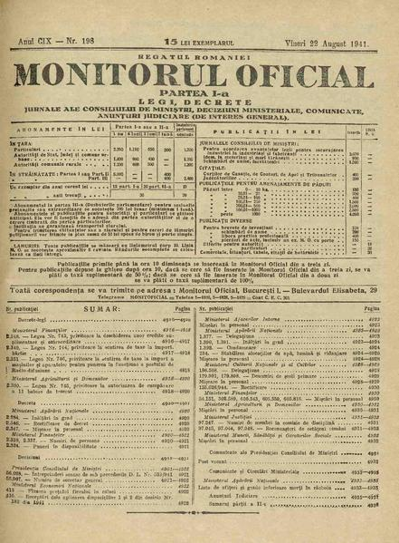 File:Monitorul Oficial al României. Partea 1 1941-08-22, nr. 198.pdf