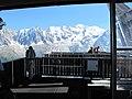 Mont Blanc through arrival station of Brevent.jpg