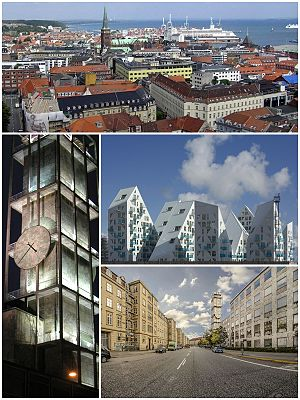 From top and left to right: Aarhus skyline, Aarhus City Hall, Isbjerget, Park Allé.