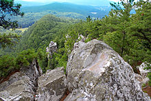 View looking southeast from Devils Pulpit on Monument Mountain
