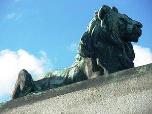 Morecambe and Heysham War Memorial - Closer view of the lion atop the memorial
