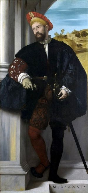 Moretto da Brescia - Portrait of a Man, National Gallery, 1526, the earliest Italian full-length portrait