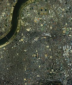 Moriguchi city center area Aerial photograph.1985.jpg