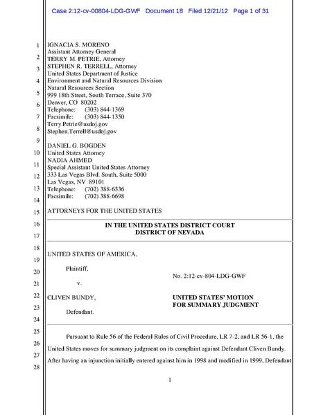 File:Motion for Summary Judgment Dec 2012 in United States v. Bundy.pdf