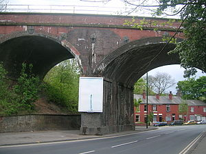 Godley, Greater Manchester - Mottram Road in Godley, with a viaduct of the Glossop Line