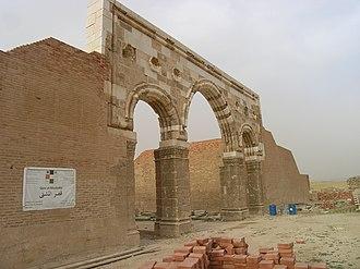 Qasr Al-Mshatta - Remains of the facade at the original site.