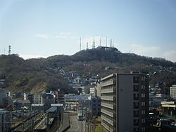 View of Muroran Station area and Mount Sokuryo