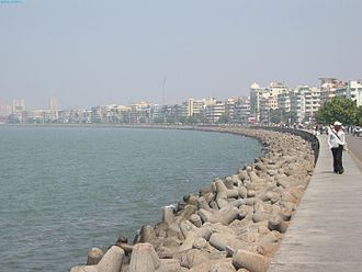 """Caltrop - """"Tetrapods"""" (caltrop-shaped concrete structures) used along a seawall along the Marine Drive waterfront at Mumbai"""