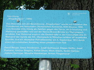 Munich massacre memorial in Munich (2).JPG