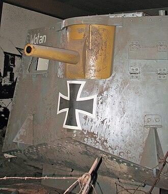 """Tank gun - Replica of German A7V """"Wotan"""" showing 57 mm Maxim-Nordenfelt gun in front"""