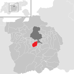 Location of the municipality of Mutters in the Innsbruck-Land district (clickable map)