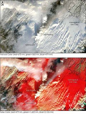 Grímsvötn - Satellite images of the November 2004 Grímsvötn Eruption