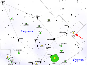NGC 6939 - Map showing location of NGC 6939