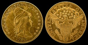 "Quarter eagle - 1796 ""Turban Head"" or ""Capped Bust"" quarter eagle (with stars)"