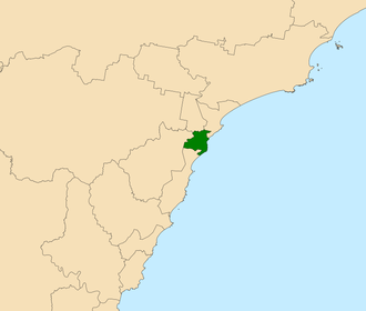 Electoral district of Charlestown - Location in the Central Coast region of New South Wales