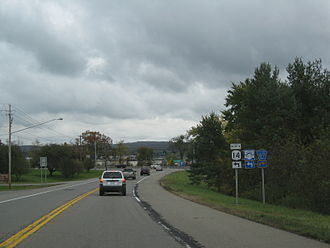 New York State Route 14 - Approaching Chemung CR 67 (former NY 14) on NY 14 northbound near Horseheads