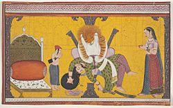प्रहलाद एवं उसकी माता नरसिंहावतार को हिरण्यकश्यप के वध के समय नमन करते हुए