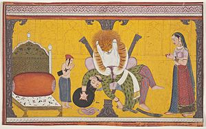 Prahlada - Narasiṁha kills Hiranyakashipu, as Prahlāda and his mother Kayadu bow before Lord Narasiṁha.