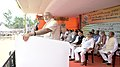 Narendra Modi addressing at the dedication of the National Highway projects to the nation, at Ara, in Bihar on August 18, 2015. The Governor of Bihar, Shri Ram Nath Kovind and the Union Ministers are also seen (2).jpg