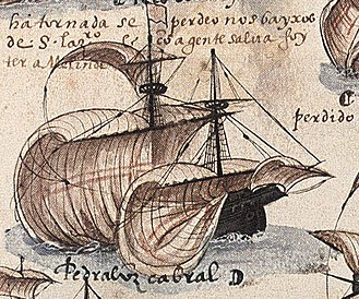 Timeline of European exploration - Cabral's ship on the fleet that sighted the Brazilian mainland for the first time on 22 April 1500. From the manuscript Memória das Armadas que de Portugal passaram à Índia
