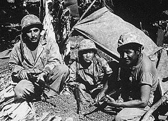 Native Americans and World War II - Navajo code talkers during the Battle of Saipan in 1944.