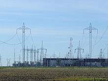 Nelson River Bipoles 1 and 2 terminate at Dorsey Converter Station near Rosser, Manitoba. The station takes HVDC current and converts it to HVAC current for re-distribution to consumers