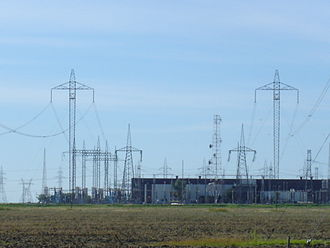 High-voltage direct current - Long distance HVDC lines carrying hydroelectricity from Canada's Nelson River to this converter station where it is converted to AC for use in southern Manitoba's grid