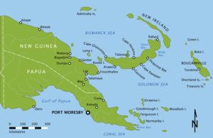Invasion of Salamaua–Lae - New Guinea and New Britain. Salamaua and Lae are positioned in the Huon Gulf in north-eastern New Guinea