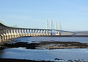 The Second Severn crossing, seen here from the English side of the river, carries the M4 motorway between England and Wales. The shipping channel lies between the two towers.