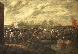Nicolaas van Eyck - Infantry battle at a bridge