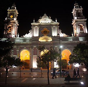 Cathedral of Salta - Image: Night Panorma Catedral Basilica de Salta 120710 jikatu 2