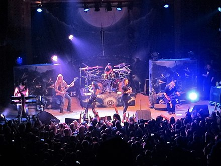 Nightwish performing with Elize Ryd and Alissa White-Gluz in Denver, Colorado, who filled in for Anette Olzon, who parted ways with the band afterwards. Nightwish in Denver (Colorado) 2.jpg
