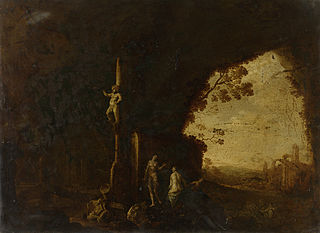 Nymphs in a cave with antique ruins