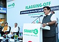 Nitin Gadkari addressing at the flagging off ceremony of the E-rickshaws for last mile connectivity, at Huda City Centre metro station, in Gurugram, Haryana.jpg