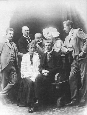 Gustaf Fröding -  Influential Swedish critics and authors of the 1890s. Fröding: third from left in back row.