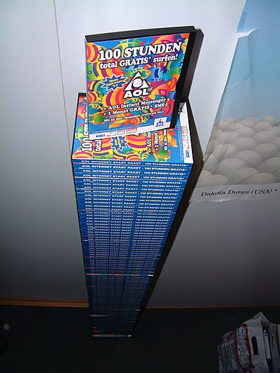 A collection of AOL CDs sent to a student dormitory in Germany, 2002 NoMoreAolCDs in Aachen.JPG