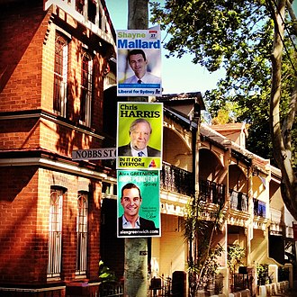 Shayne Mallard - Election posters for Mallard and other candidates in the 2012 by-election for the NSW seat of Sydney