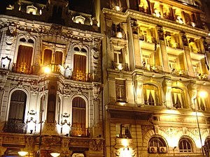 Brazilians in Uruguay - Palacio Brasil by night, Montevideo, headquarters of the Brazilian Club and the Uruguayan-Brazilian Cultural Institute.