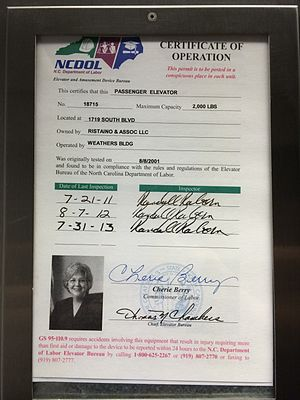 Cherie K. Berry - An example of a typical Elevator Certificate in an elevator in North Carolina