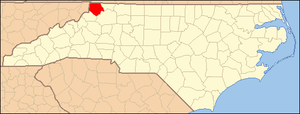 National Register of Historic Places listings in Ashe County, North Carolina - Image: North Carolina Map Highlighting Ashe County
