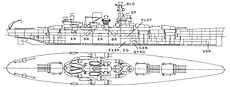 A line drawing of a ship that has three quadruple gun turrets, two in front and one in the rear. In between the turrets are the large conning tower, a tall mast, and a single large smoke stack.