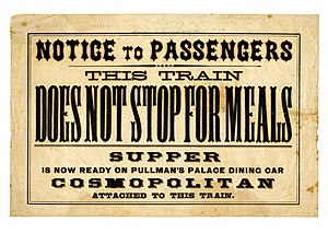 Dining car - Notice from the Central Pacific Railroad, ca. 1870
