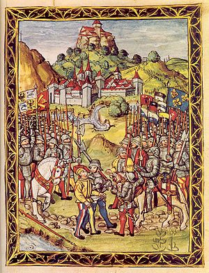 Treason of Novara - Sforza is handed over to the French. Illustration from the Lucerne Chronicle (1513)