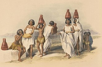 """Shaigiya tribe - Mid 19th century painting by David Roberts titled """"Nubian women at Korti"""". In the 19th century the arabization of the Nubians was still an on-going process in the Shaigiya country"""