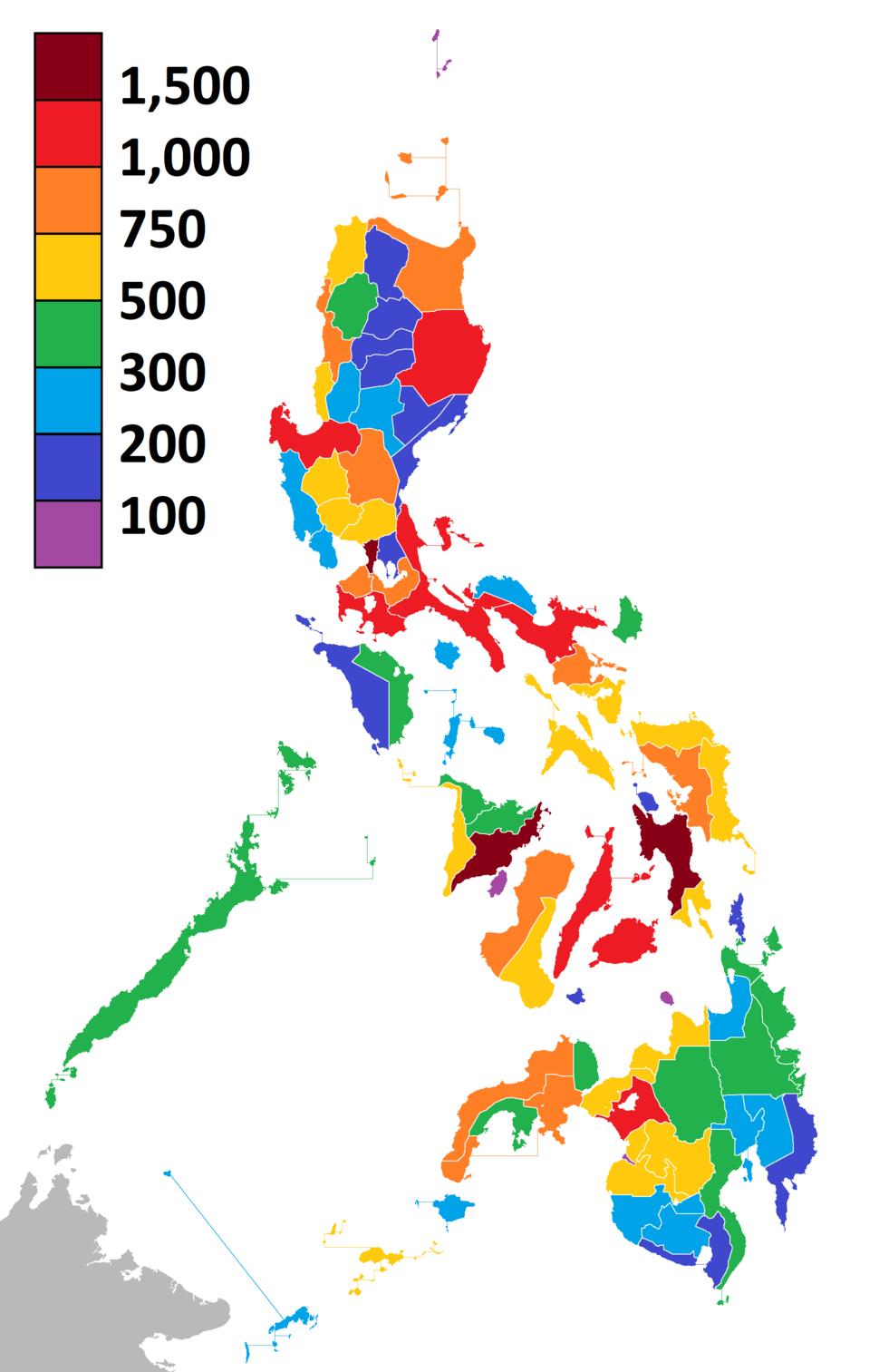 Number of barangays per province