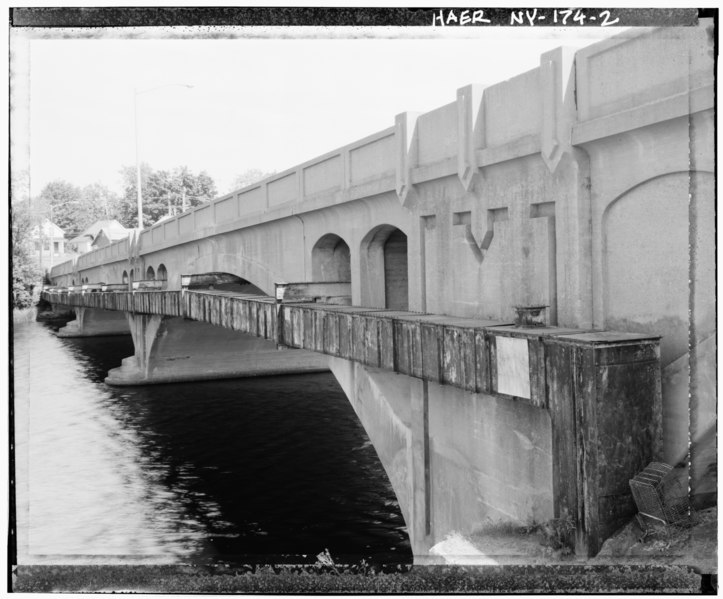 File:OBLIQUE VIEW, NORTH SIDE, WITH PIPE HOUSING - Lafayette-Spring Street Bridge, Lafayette and Spring Street, spanning Oswegatchie River, Ogdensburg, St. Lawrence County, NY HAER NY,45-OGBU,1-2.tif